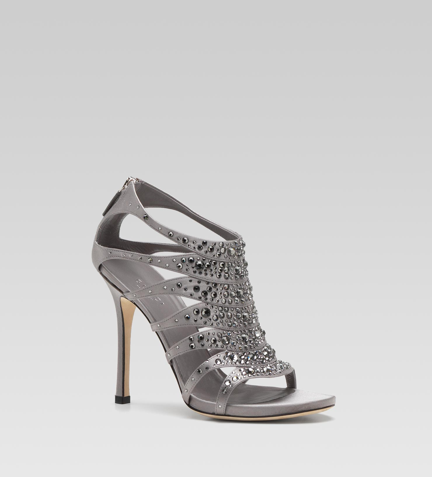 gucci soraya high heel sandal with strass embroidery in silver pearl lyst. Black Bedroom Furniture Sets. Home Design Ideas