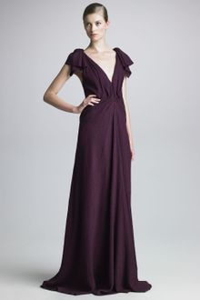 J. Mendel Draped Cloque Gown - Lyst