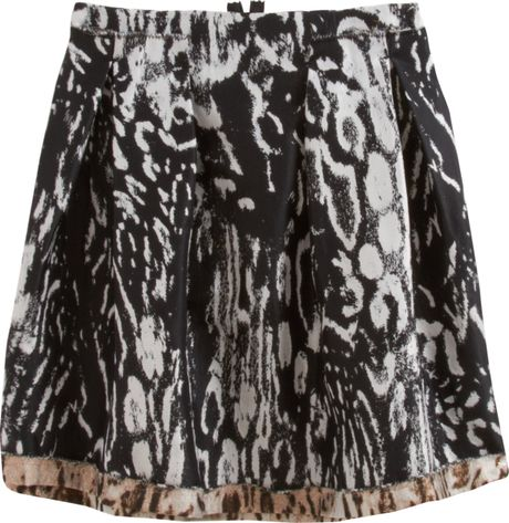 Lanvin Animal Print Mini Skirt in Black (animal) - Lyst