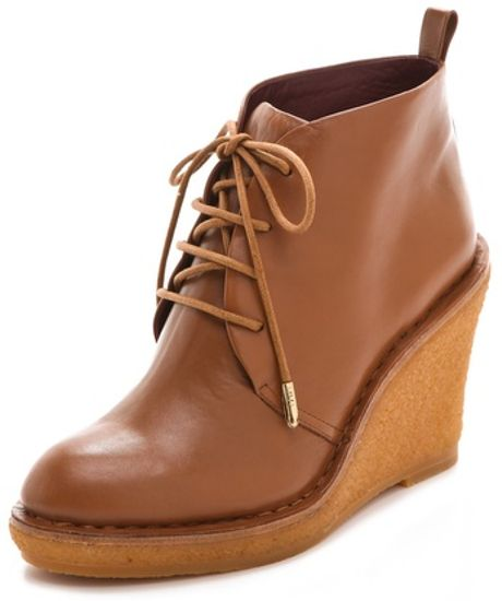 Marc By Marc Jacobs Classic Lace Up Wedge Booties in Brown (camel) - Lyst
