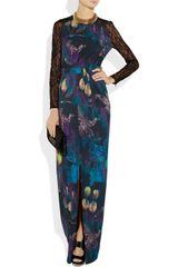 Matthew Williamson Lace Sleeved Printed Jersey Maxi Dress in Blue (multicolored) - Lyst