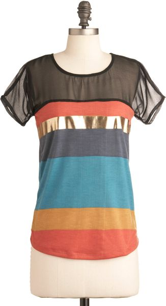 Modcloth Later Skater Top in Multicolor (sky) - Lyst