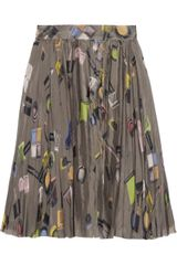 Moschino Cheap & Chic Make-up Print Pleated Silk Chiffon Skirt - Lyst