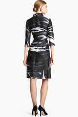 Oscar De La Renta Print Mikado Shirtdress in Black (black/ white) - Lyst