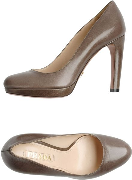 Prada Platform Pumps in Brown (grey) - Lyst