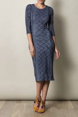 Preen Daisy Knit Print Dress in Blue - Lyst