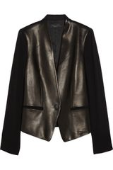 Rag & Bone Pascal Leather Paneled Crepe Tuxedo Jacket - Lyst