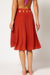 Seventh Wonderland Silk Beach Skirt with Cut Out Detail in Brown (copper) - Lyst