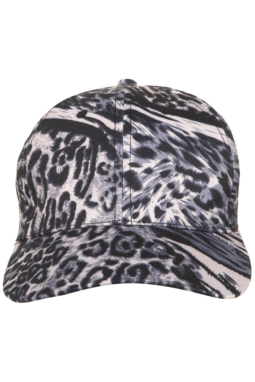 5edc4c3fb79 TOPSHOP Leopard Print Baseball Cap in Gray - Lyst