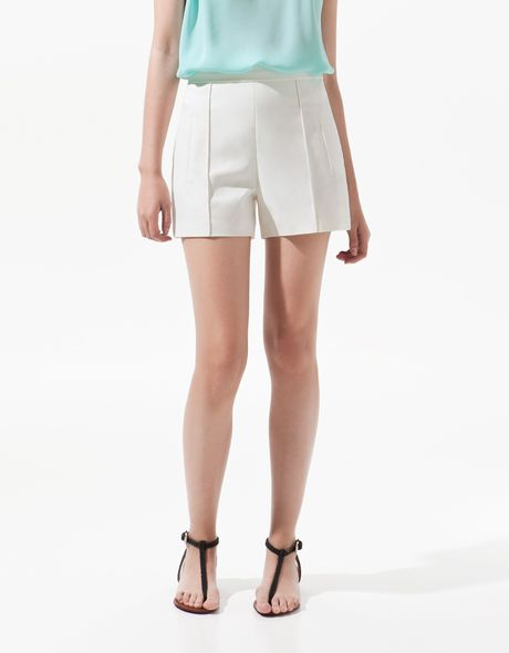 Zara Shorts with Front Rib in White (ecru) - Lyst