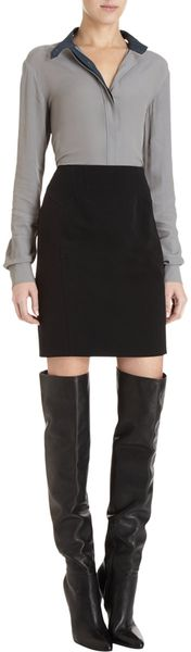 Alexander Wang Contrast Front Skirt in Black - Lyst