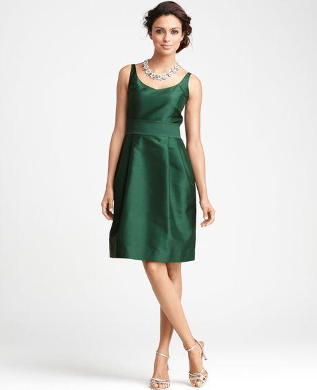Ann taylor silk dupioni vneck bridesmaid dress in green for Anne taylor wedding dress