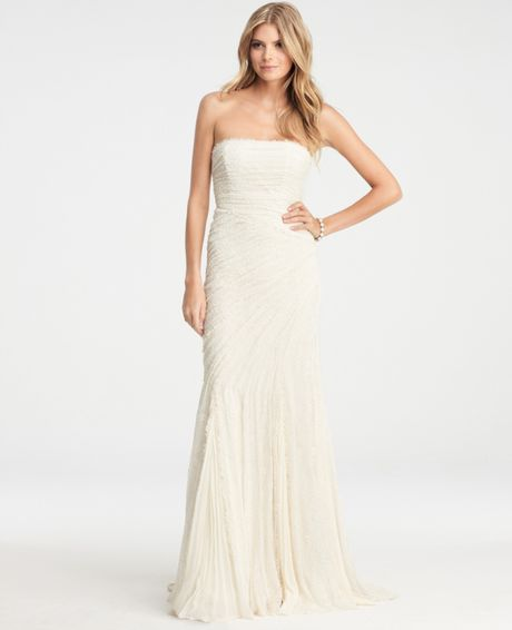 Ann taylor petite jasmine lace wedding dress in white for Wedding dresses ann taylor