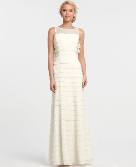 ann taylor silk georgette tiered sleeveless wedding dress