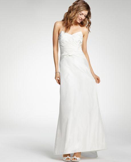 Silk Taffeta Wedding Gowns: Ann Taylor Silk Taffeta Halter Wedding Dress In White
