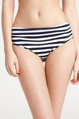 Ann Taylor Stripe Shirred High Waisted Bikini Bottom - Lyst