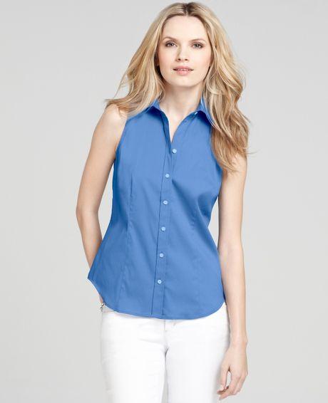 Ann taylor petite stretch cotton sleeveless button down for Sleeveless cotton button down shirts