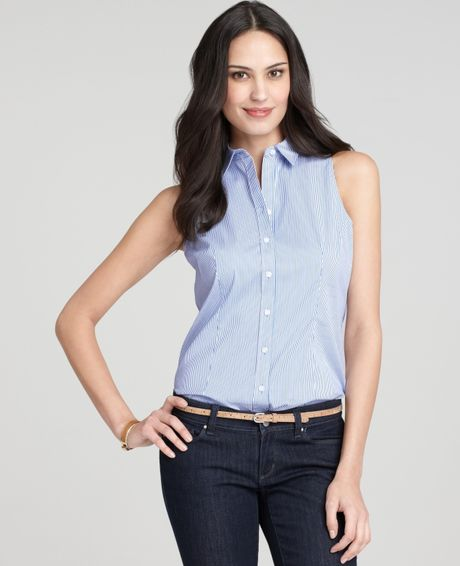 ann taylor stretch cotton sleeveless button down shirt in
