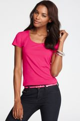 Ann Taylor Short Sleeve Scoop Neck Tee - Lyst