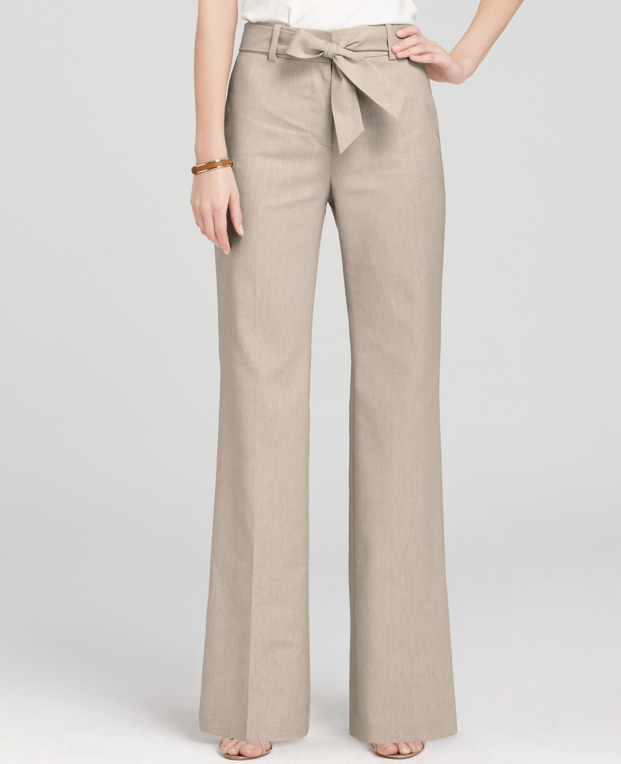 Ann taylor Petite Stretch Linen Twill Wide Leg Pants with Sash in ...