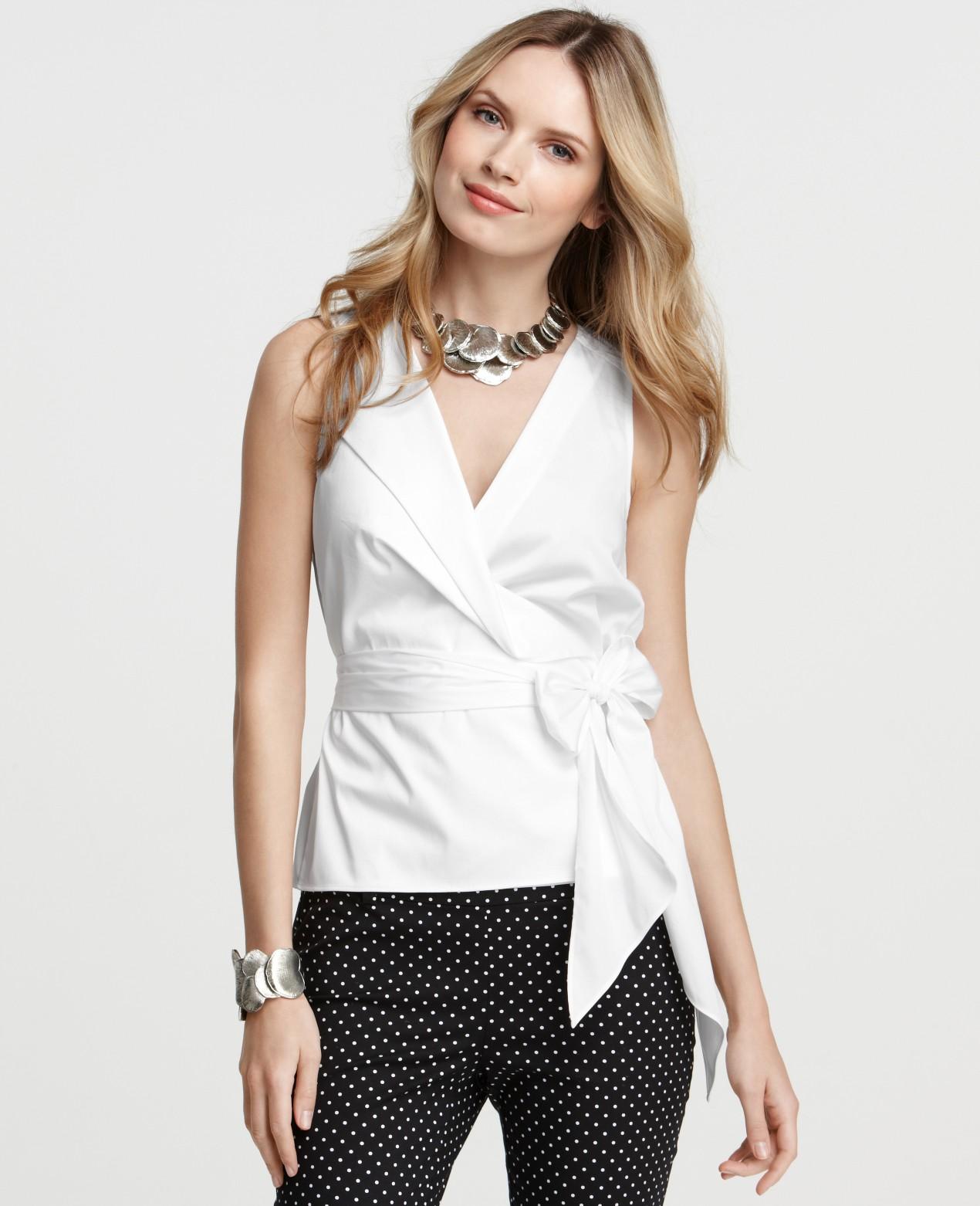 Ann taylor Petite Cotton Wrap Around Waist Sleeveless Top in White ...