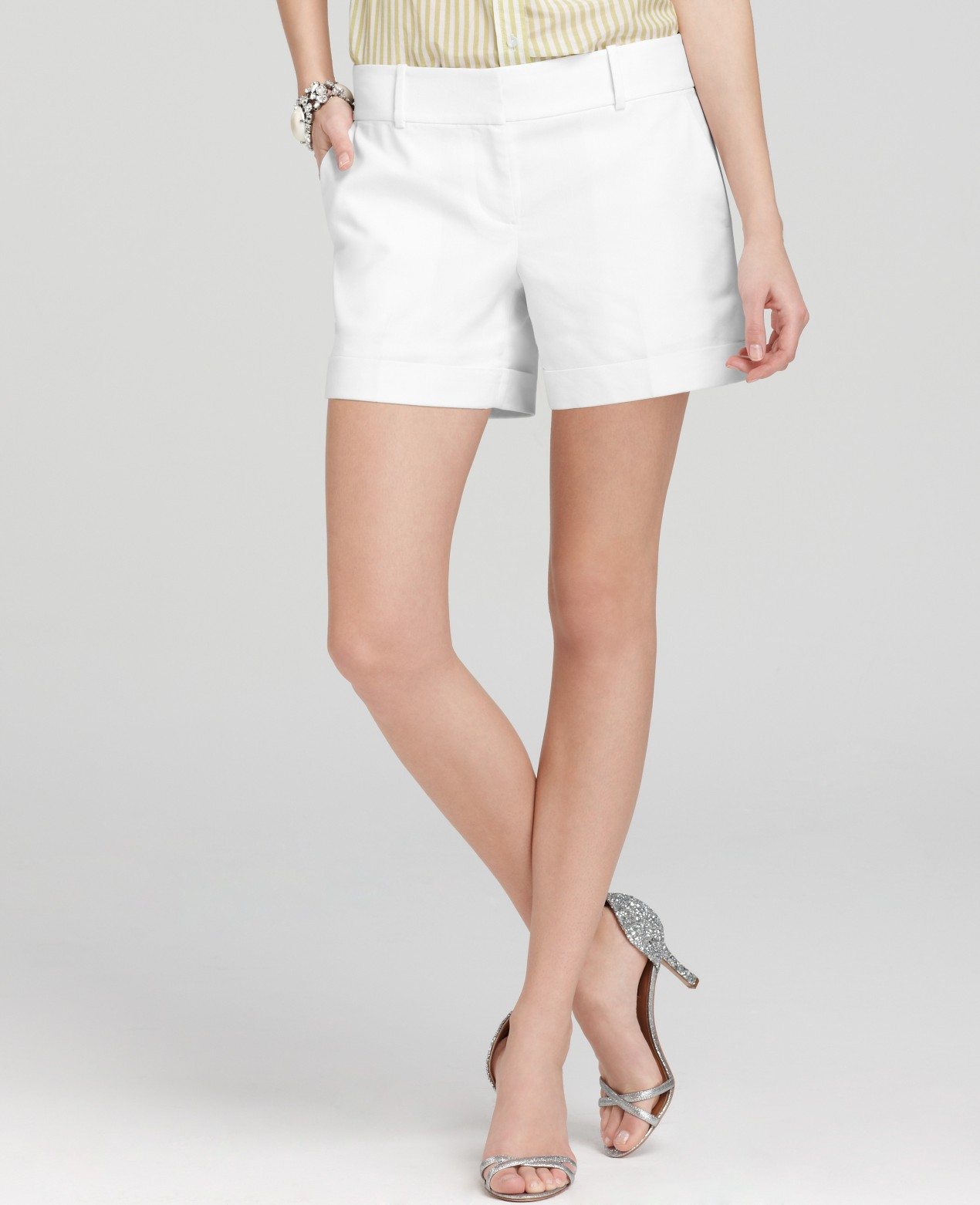 Ann taylor Petite Stretch Linen Twill Cuffed Shorts in White | Lyst