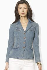 Ash Washed Denim Blazer - Lyst