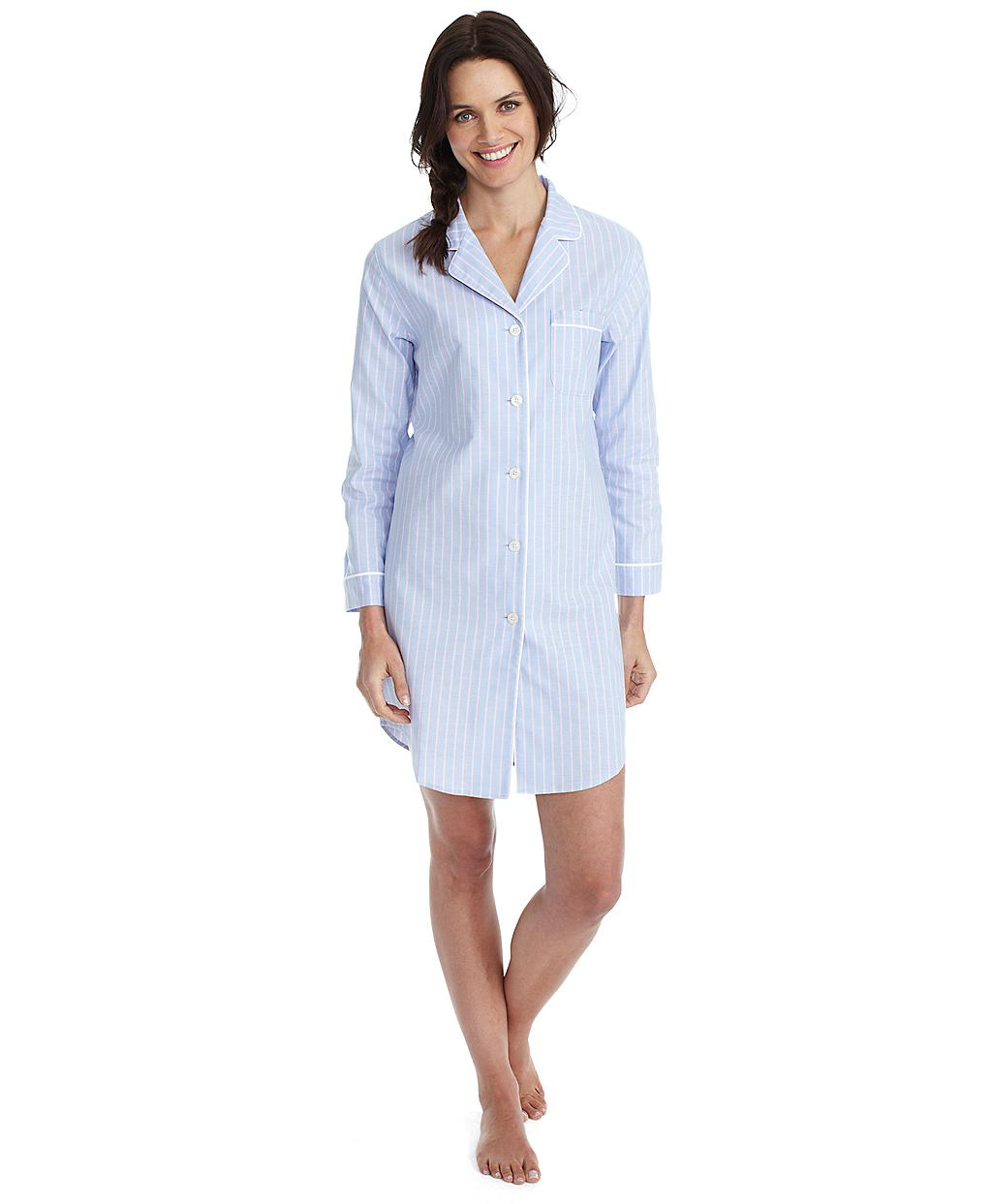 Lyst - Brooks Brothers Oxford Stripe Nightshirt in Blue 4743aa473