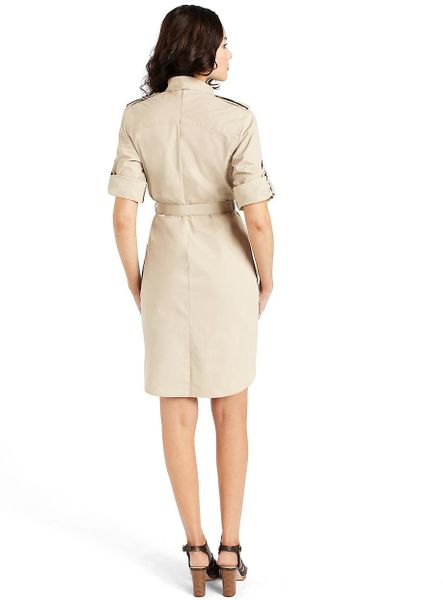 Brooks Brothers Petite Cotton Safari Shirt Dress In Khaki