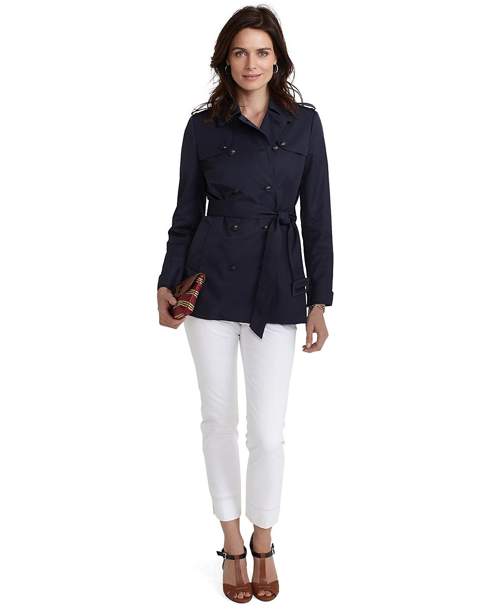 Brooks brothers Doublebreasted Short Trench Coat in Blue | Lyst