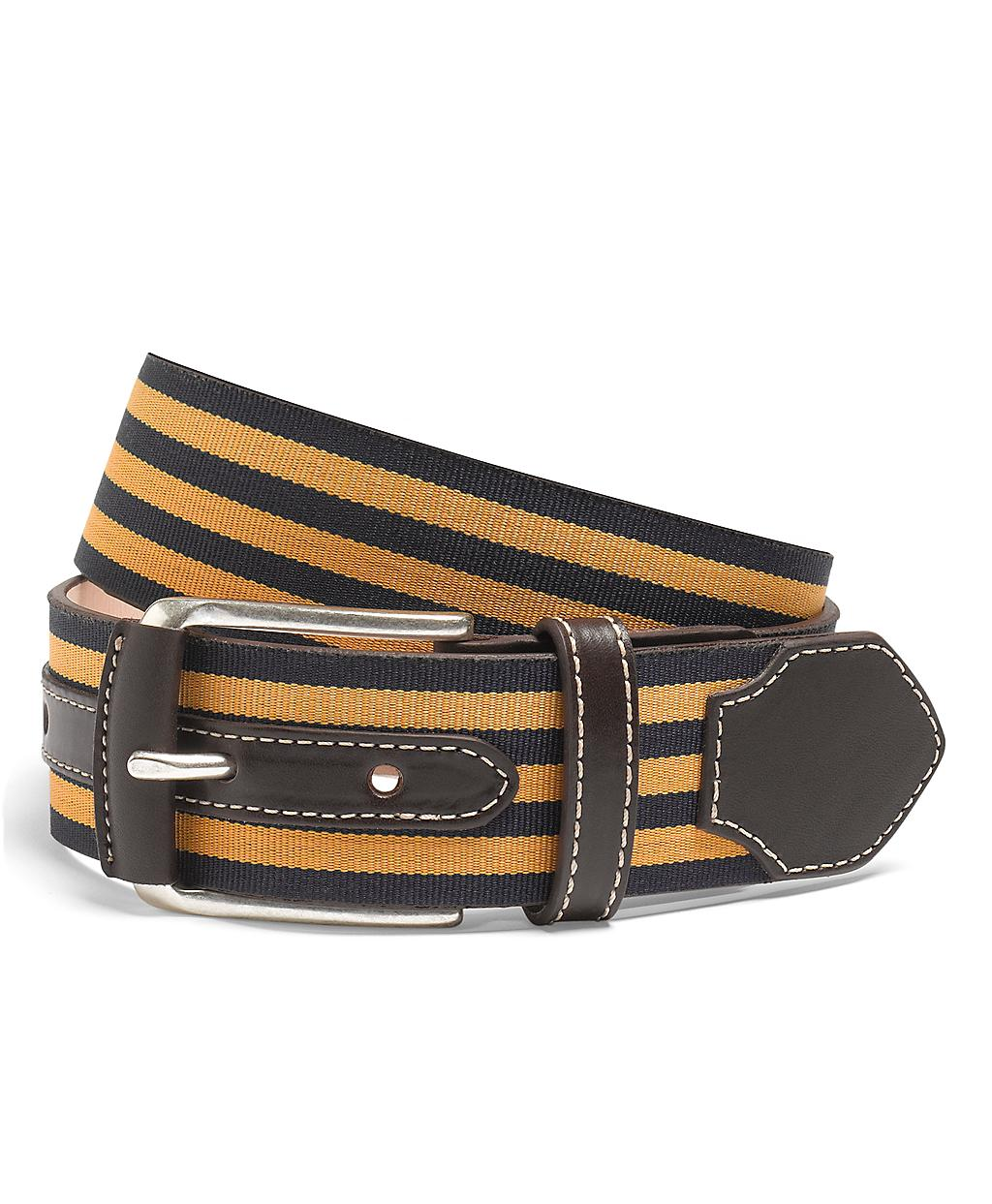 brothers leather and grosgrain striped belt in