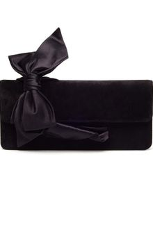 Christian Louboutin Elisa Suede and Satin Bow Clutch - Lyst