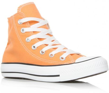 Converse Hi Top in Orange - Lyst