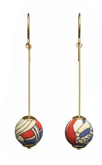 Dorus Mhor Vintage Liberty Silk and Gold Pin Earrings - Lyst
