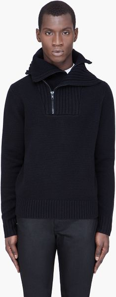 Givenchy Wool and Cashmere Knit Zip Sweater in Black for Men - Lyst