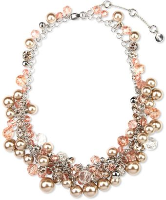 Givenchy Silver Tone Blush Glass Pearls and Glass Cubic Zirconia Collar Necklace - Lyst
