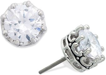Juicy Couture Silver Tone Cubic Zirconia Stud Earrings 2 Ct Tw - Lyst