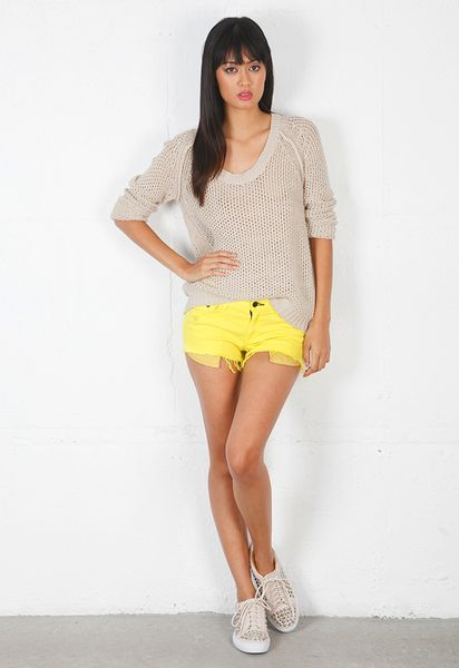 Rag & Bone Neon Mila Cut Off Short in Yellow - Lyst
