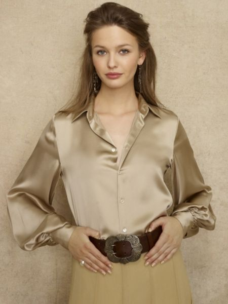 Gold Silk Satin Blouse - Long Blouse With Pants