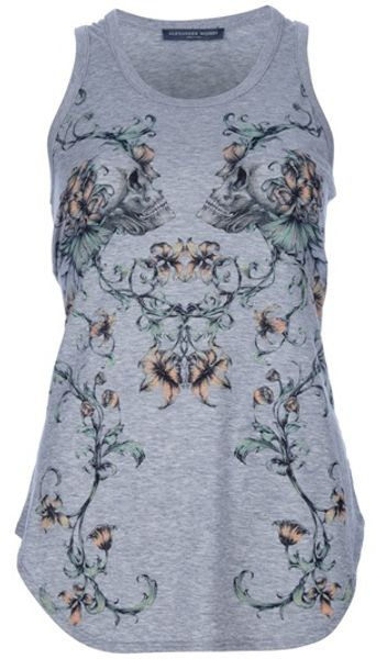 Alexander Mcqueen Skullprint Vest in Gray (grey) - Lyst