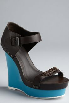 Balenciaga Black Leather Studded Wedge Sandals - Lyst