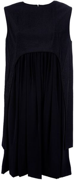 Balenciaga Pleated Cape Dress in Black