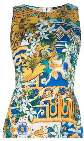 Dolce & Gabbana Sleeveless Blouse in Yellow - Lyst