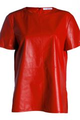Givenchy Givenchy Womens Lamb Leather Manches Top in Red - Lyst