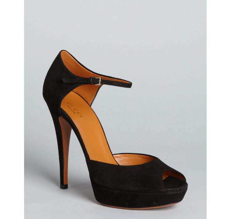 Lyst - Gucci Black Suede Ankle Strap Peep Toe Platform Pumps in Black