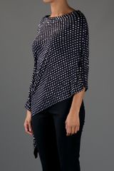 Michael Kors Asymmetric Dotted Top in Black - Lyst