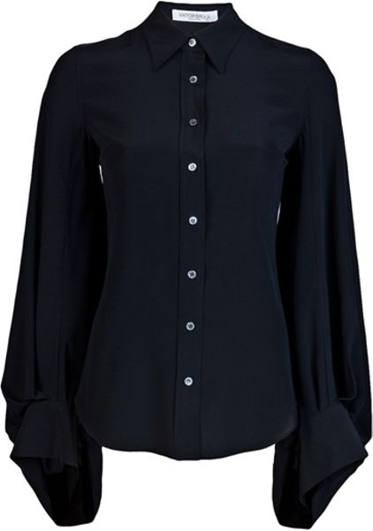 Viktor & Rolf Bell Sleeve Blouse in Black - Lyst