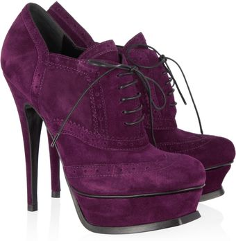 Yves Saint Laurent Suede Brogue Ankle Boots - Lyst
