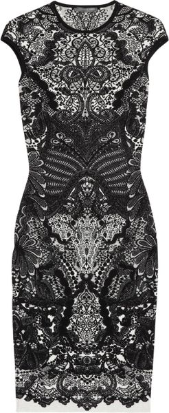 Alexander Mcqueen Wool blend Intarsia Dress in Black - Lyst