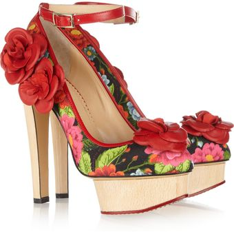 Charlotte Olympia Flora Printed Crepe Covered Leather Pumps - Lyst